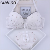 2018 new special breathable thin models sexy lace girls bra set AB-cup cotton breast gather bra
