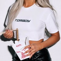 Missguided - Fanny Lyckman x Missguided White Tomboy Logo Crop Top