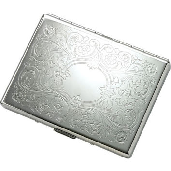 MG Gifts Single-Sided Silver Cigarette Case For 9 of 100