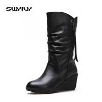 SWYIVY Women's Boots Winter Boot PU Leather 7cm Wedges Women Boot Female Winter Boots With Fur Rubber Sole Mother Zip Shoes