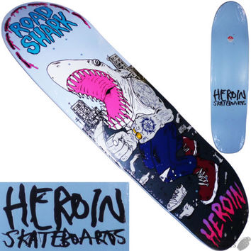 "HEROIN ""Road Shark"" Team Skateboard Deck 8.5"" Cruiser Street Park Pool Stinger"