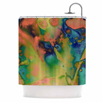 "Nina May ""Acid Splash Down "" Green Blue Shower Curtain"