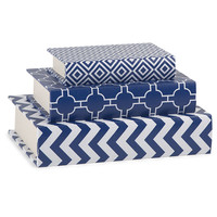 Essentials Book Boxes - Navy - Set of 3