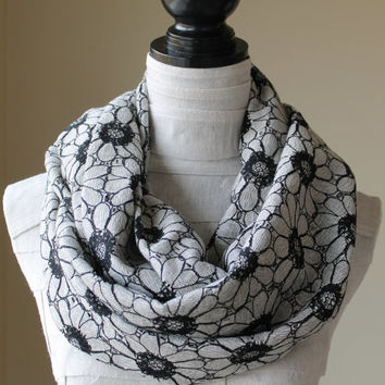 Floral Infinity Scarf, Black and White Flower Scarf, Chunky Infinity Scarf, Spring and Summer Scarf, Mothers Day Gift
