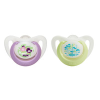 NUK Advanced Orthodontic Silicone Newbown Pacifier - 0 - 2 Months 2 Pack - Girl