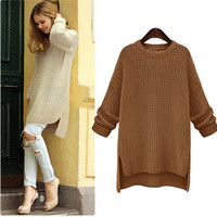 SOLID COLOR ROUND NECK KNIT SWEATER