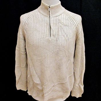 Vintage 90s Ralph Lauren Cream Zip Up Shaker Knit Jumper Sweater Large