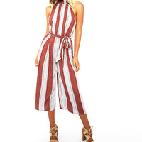 Women's Rust/White Striped Midi Jumpsuit Romper Halter Style with Tie