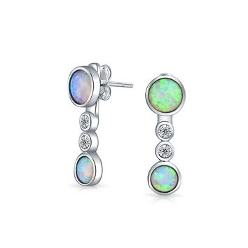 White Created Opal CZ Back Front Dangle Earrings Sterling Silver