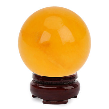 18mm Natural Amber Beeswax Crystal Ball Healing Sphere + Stand DIY Jewelry Mineral Stone Craft Home Ornaments Decorative Gift