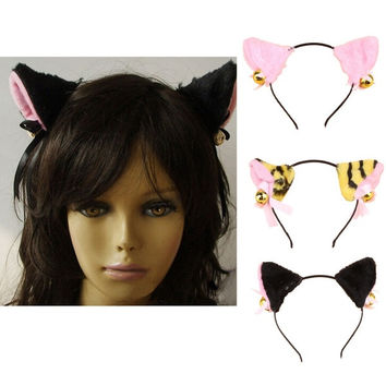 Fashion Cosplay Halloween Party Anime Costume Cat Fox Ears Hair Clip Xmas-0040