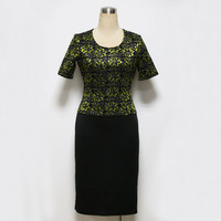 Elegant Career Female Lace Top Patchwork Office Dress Short Sleeve Slim Tunic Formal Bodycon Pencil Dress Wear To Work