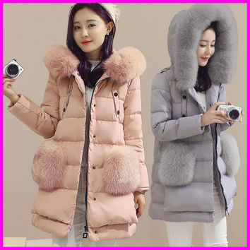 2016 High Quality Winter Long Down Jacket Women Real Fox Fur Hooded Coat Duck Down Parkas Jackets Plus Size 5XL