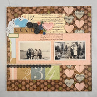 12x12 Premade scrapbook page  LOVE can be used by ScrappyDoodads