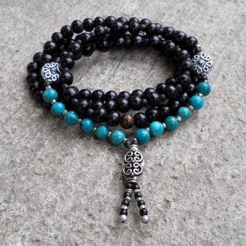 108 Bead Yoga Mala Necklace or Bracelet, Ebony Prayer Beads, Genuine Turquoise Gemstone