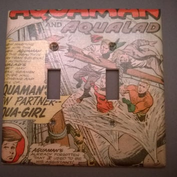 Aquaman and Aqualad comic book light switch cover