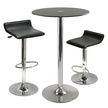 Rossi 3-Pc Pub Table Round Black Glass Top with 2 Air Lift Adjustable Stools