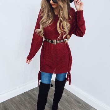 One Of A Kind Sweater: Burgundy