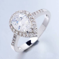 18K WGP Pear Cut Red CZ Ring