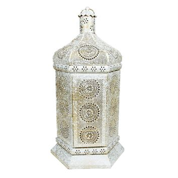 "21.5"" Distressed White and Gold Antique Style Moroccan Floral Cut-Out Table Lantern Lamp"