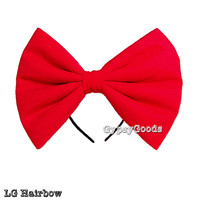 LARGE Flannel Hair Bow (Headband or Hairclip) Big, LG cosplay or costume in Red, White, Pink, Yellow, Black or Purple