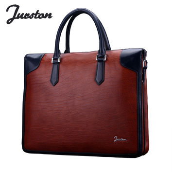 Wire fashion brief commercial male genuine leather cream cowhide laptop bag