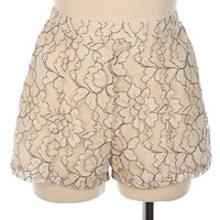 Floral Lace Knit Shorts   - Diva Hot Couture