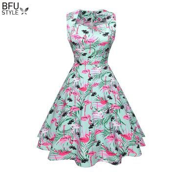 Flamingo Print Women Retro Dress 50s 60s Vintage Rockabilly Swing Feminino Vestidos Floral Pattern Audrey Hepburn Party Dresses