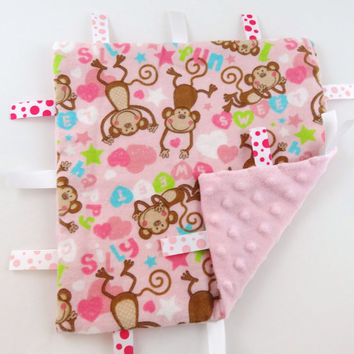 Baby Gift for Girl Monkey Tag Blanket Baby Girl Gift