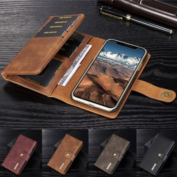 Fashion Retro Leather Wallet Hard Magnetic Case With Card Holder Flip Cover for iPhone X 8 8 6 6S Plus Samsung Galaxy Note 8 S8