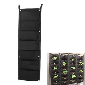 7 Pockets Wall Garden Hanging Planting Bags Vertical Outdoor Indoor Planter TB Sale