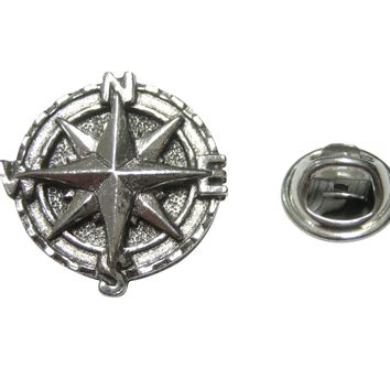 Silver Toned Textured Nautical Compass Lapel Pin