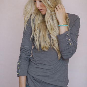 Wonderland Cozy Henley in Toast Gray