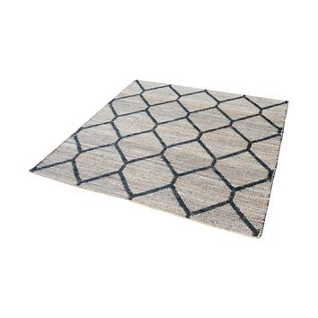8905-075 Econ Jacquard Weave Jute Rug In Natural And Black - 6-Inch Square