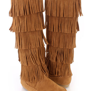 Tan Fringe Tiered Moccasin Style Boots Faux