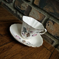 Lefton bone china floral rose tea cup, wavy scalloped edge, floral shape, english tea set, vintage teacup