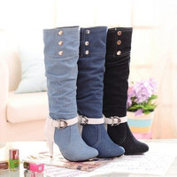 Fashion Women's Demin Knee High Boots Autumn Winter Stiletto High Heeled Cowboy Tall Boots Shoes