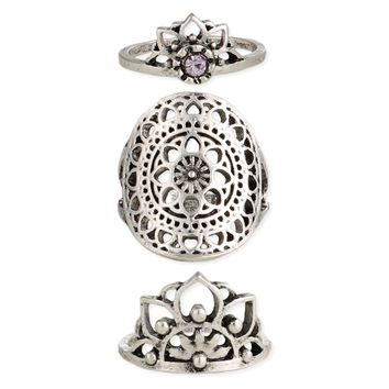 Set of 3 Spiritual Silver Mandala Rings