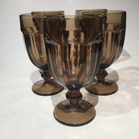 Duratuff Gibralter Goblets, Smoky Brown Water Goblets| Brown Duratuff Goblets, Vintage Wine Glasses