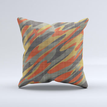 Red Green and Black Abstract Traditional Camouflage ink-Fuzed Decorative Throw Pillow