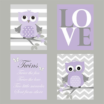 Wall Art, Set of 4, Nursery Wall Prints, Twins Quote, LOVE, Owls, LOVE, Custom Prints, Lavender Gray Art, Custom Colors, Nursery Decor, 8x10