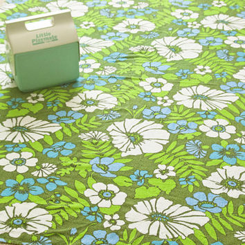 1960s Terrycloth Tablecloth or Hippie Beach Towel, Green and Turquoise Huge Bath Towel, Vintage Linens