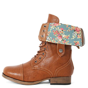 Womens Fold Over Floral Military Combat from shoemaven26 on eBay