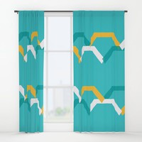 Teal Steps Window Curtains by spaceandlines