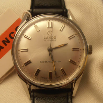 Vintage rare Lanco 17j NIB with tags men's wristwatch