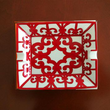 High-end Luxury Gadgets Chinese Red Pattern Two Holder Ceramic Cigar Ashtray W/ Original Gift Box