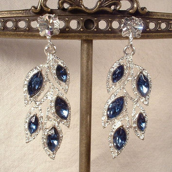 Art Deco Sapphire Navy Blue Rhinestone Laurel Leaf Bridal Earrings, Vintage Silver Dangle Earrings Flapper Gatsby Drop Bridesmaids 1920s