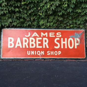 Antique Trade Sign, James Barber Shop Sign, Union Shop Sign, Hand Painted Folk Art Sign