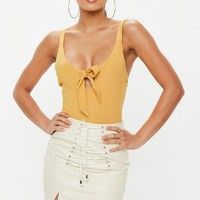 Missguided - Mustard Yellow Knot Front Strappy Bodysuit