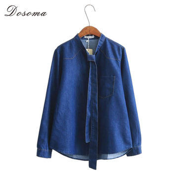 women denim blouses 2016 vintage deep blue stand tie collar blouse jeans girls denim shirt female slim bottoming blouse elegant